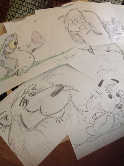 lion, monster, gopher, gorilla, pencil, sketch, cartoon, draw